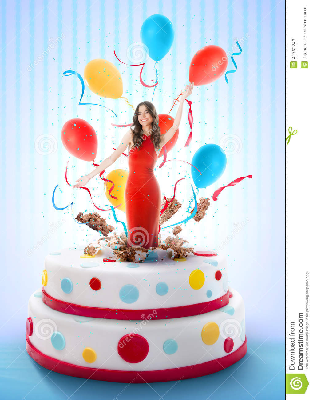Beautiful Woman Jumping Out Of The Cake Stock Image Image Of