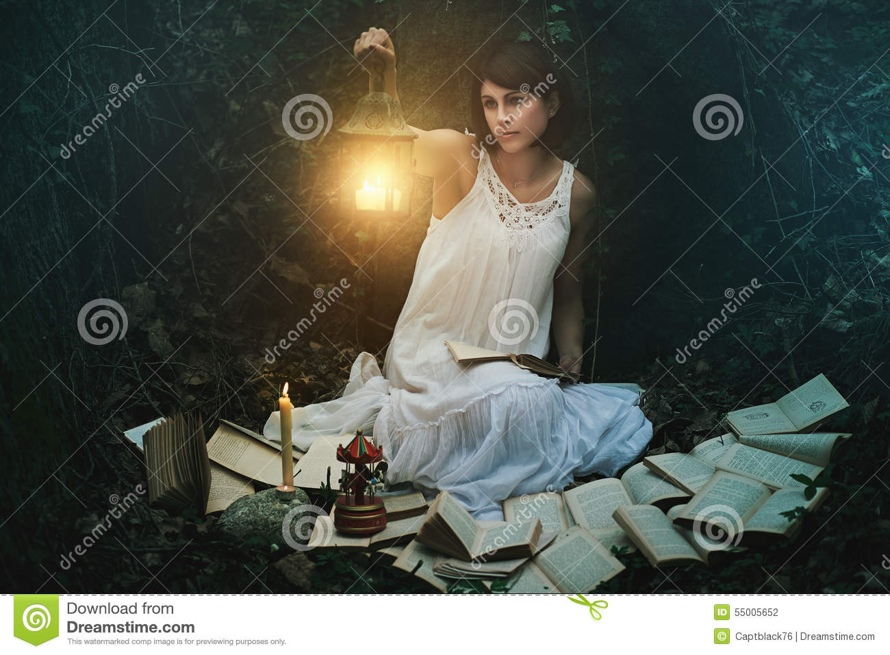 Beautiful Woman With Lantern In A Dark Forest Stock Photo ...