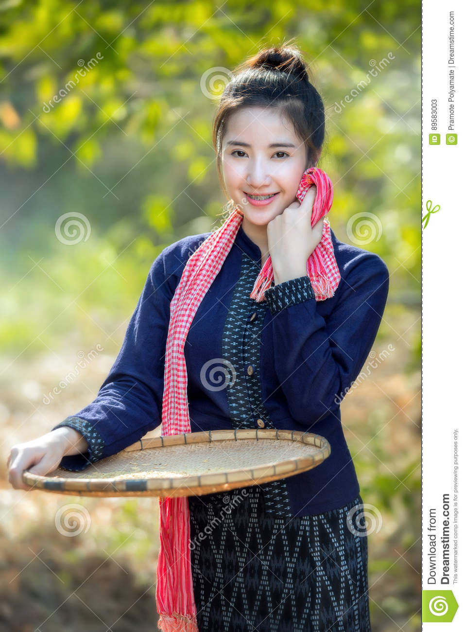 Beautiful Woman In Laos Costume.Lao Traditional Dress Of A