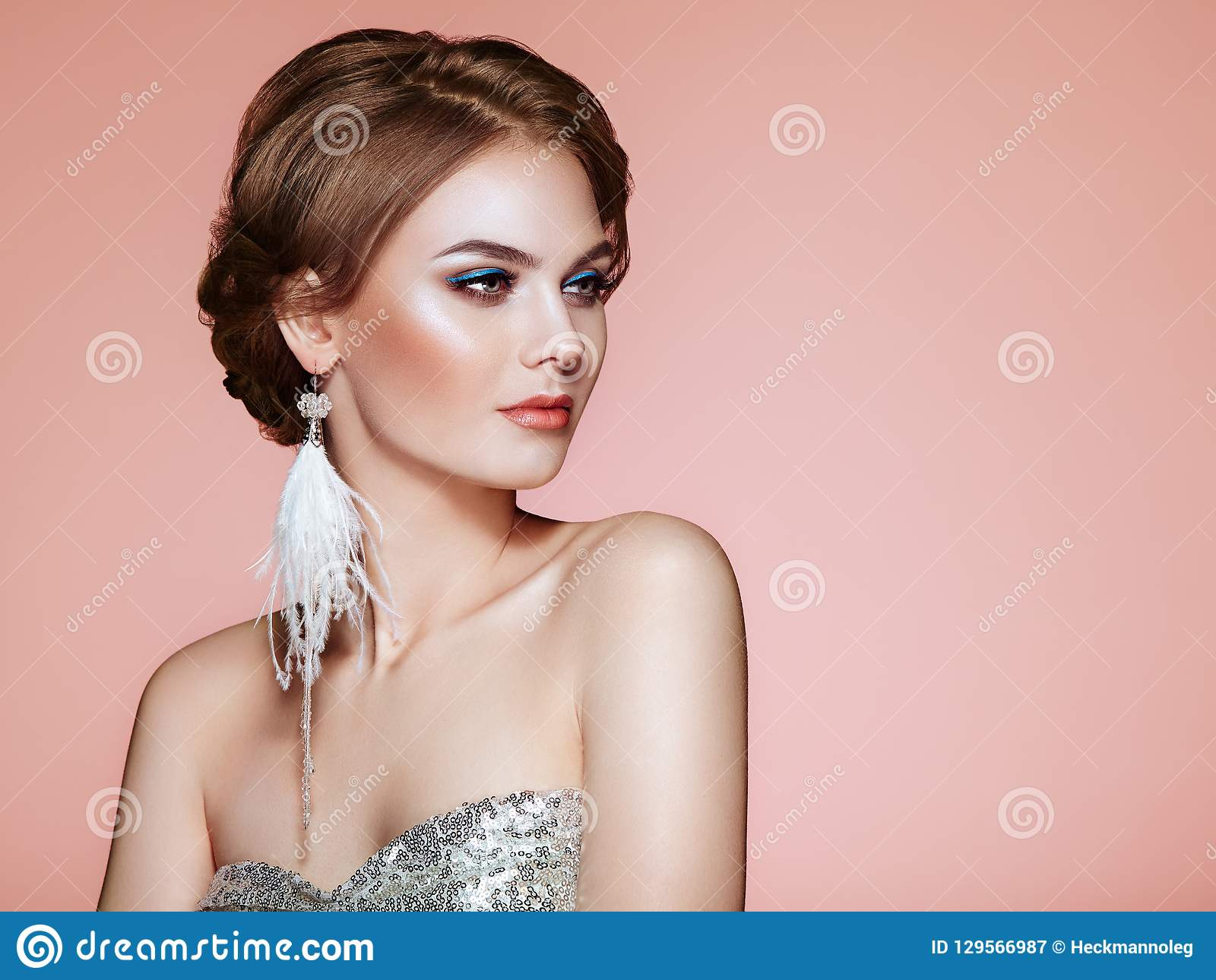 18ca52fe770c0 Beautiful Woman With Large Earrings Tassels Stock Image - Image of ...