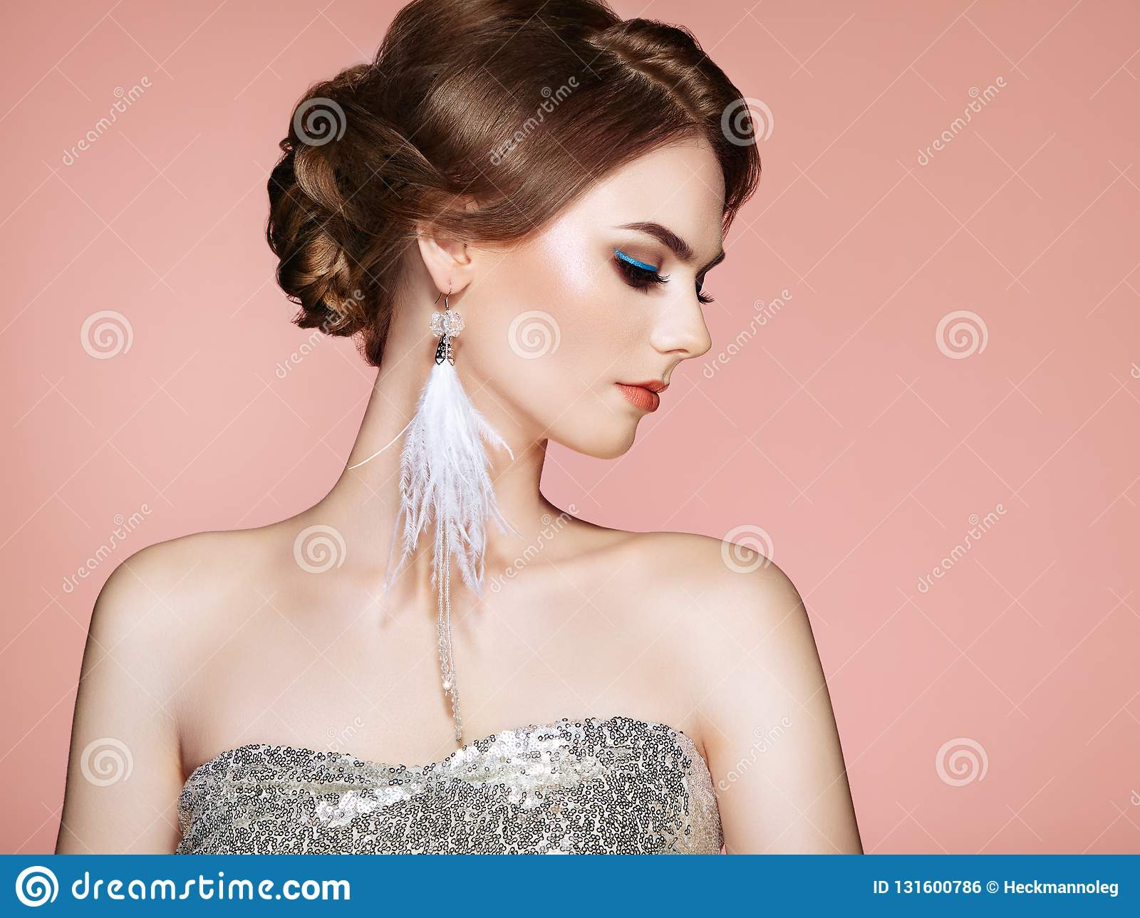 f9817ad7ca2bd Beautiful Woman With Large Earrings Tassels Stock Photo - Image of ...