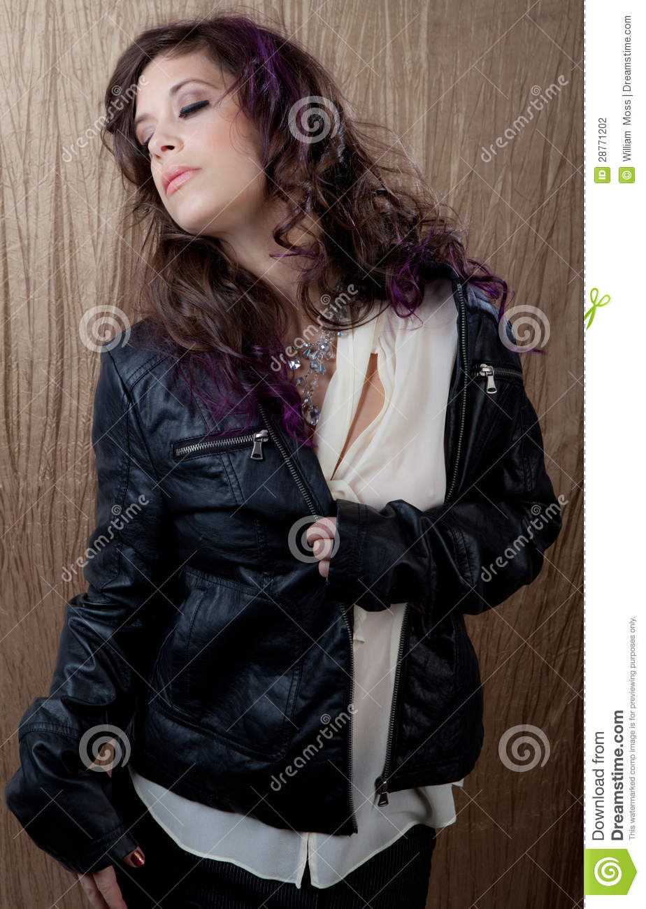 Beautiful Woman In Leather Jacket Stock Photography