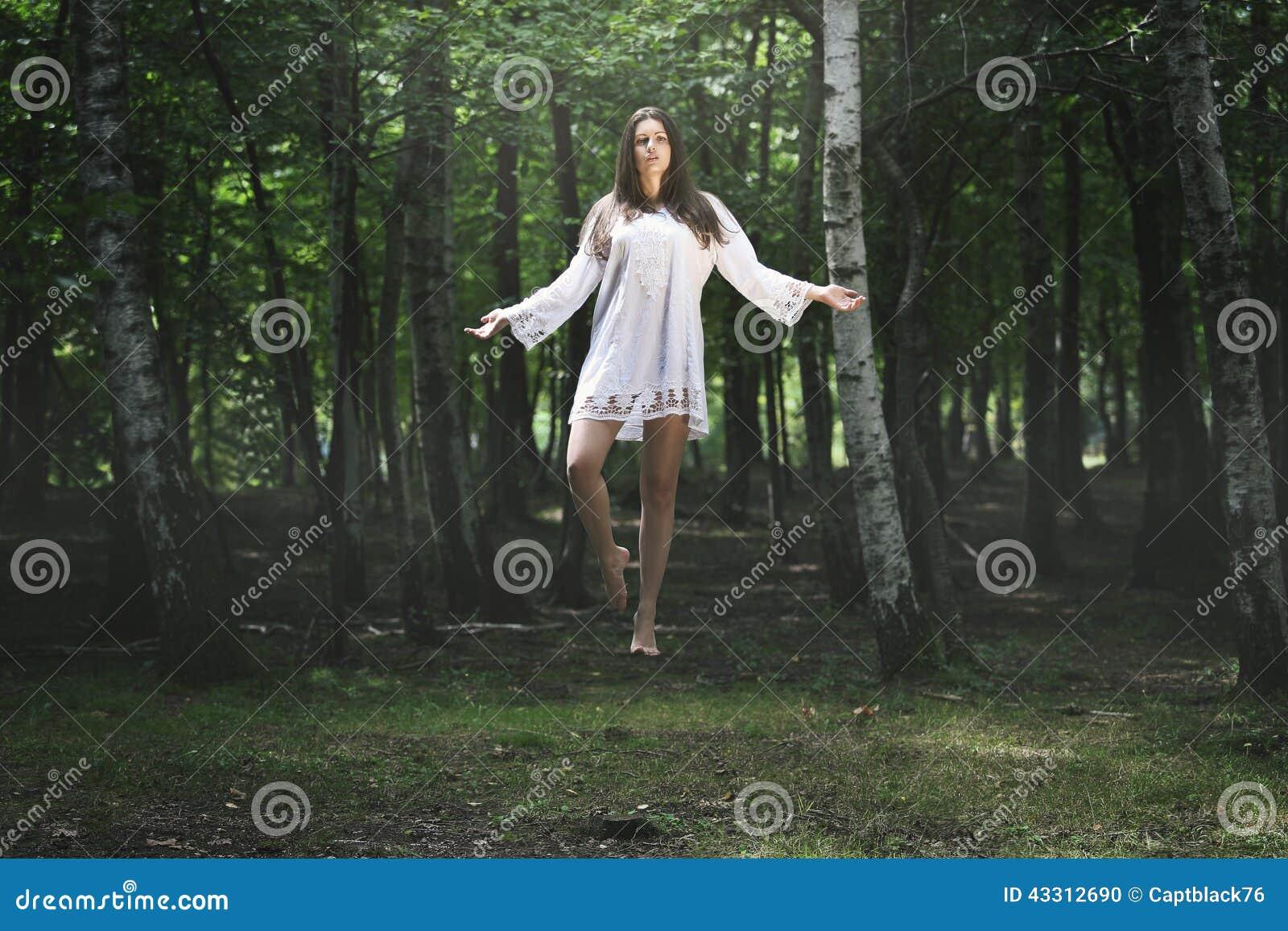 Beautiful Woman Levitation Stock Photo. Image Of Girl ...