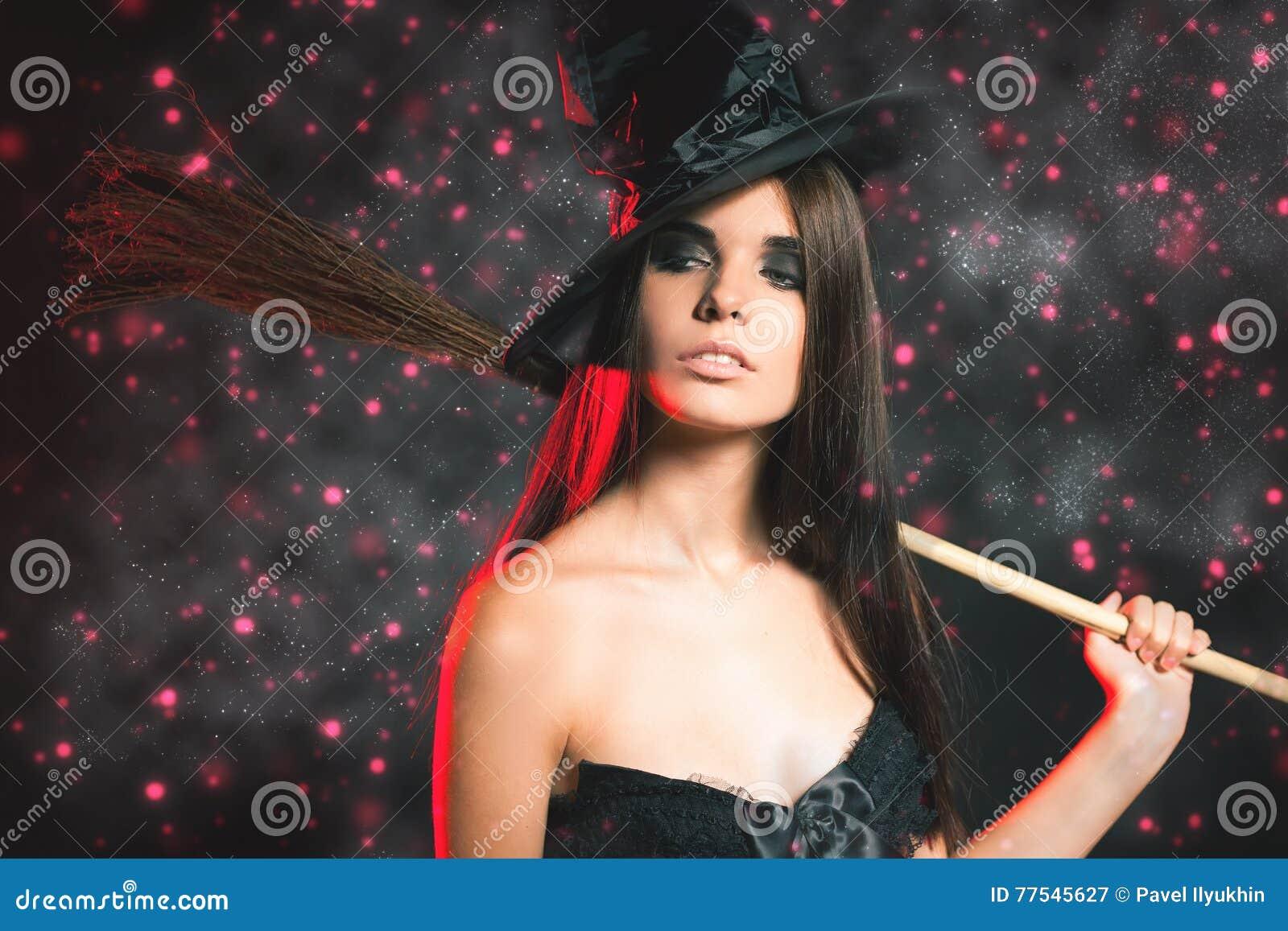 Beautiful Woman Like Witch. Fashion. Halloween Costumes