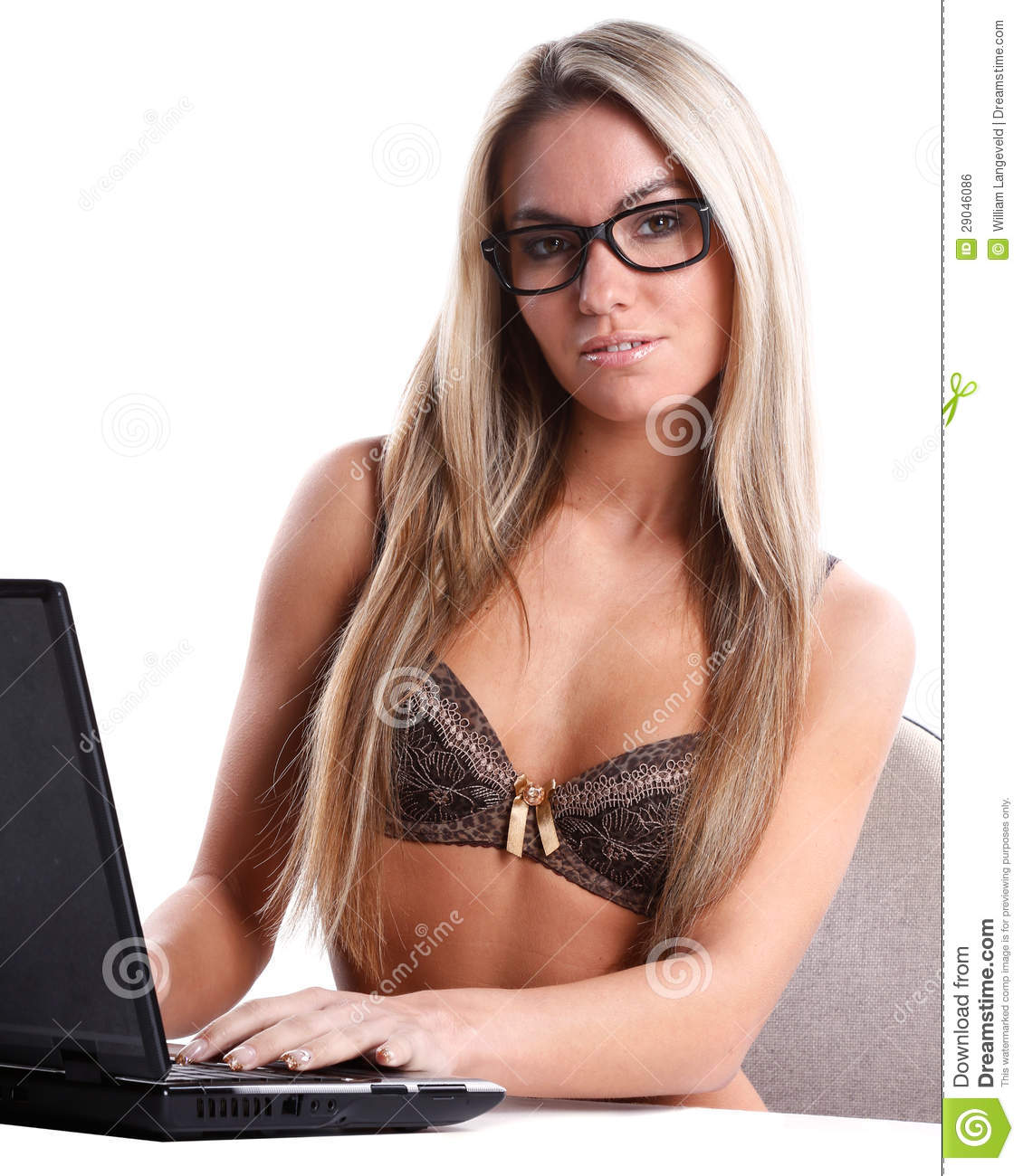 Beautiful Woman In Lingerie Works As Secretary With Laptop