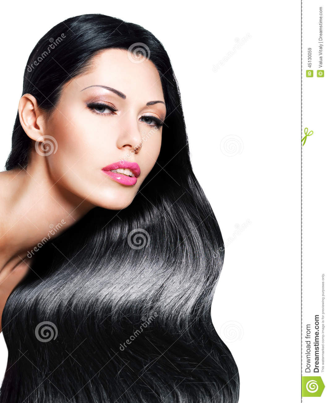 Black Women Fashion Models: Beautiful Woman With Long Black Hair Stock Image