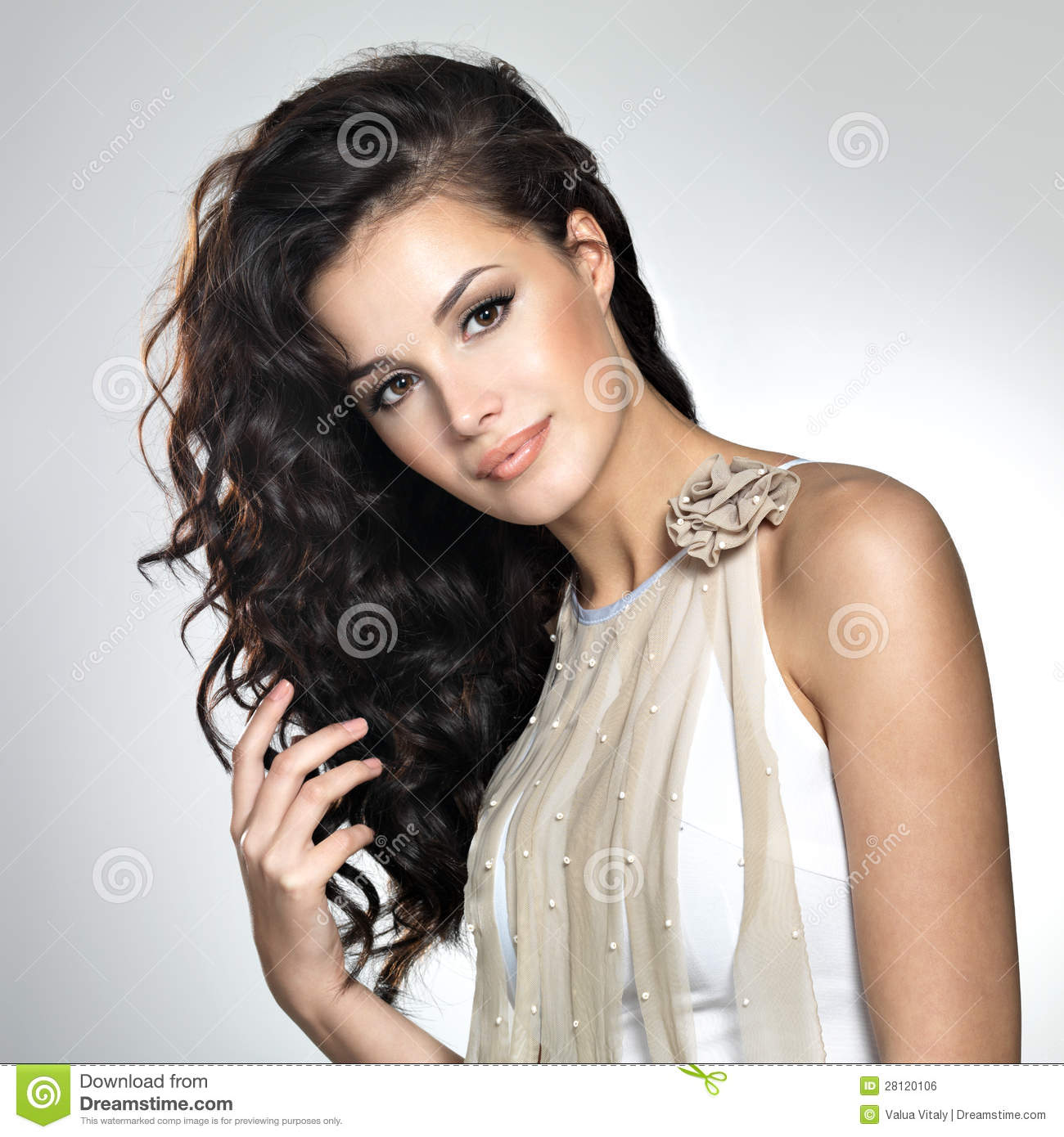 Beautiful woman with long brown hair stock photo image 28120106 beautiful woman with long brown hair voltagebd Images