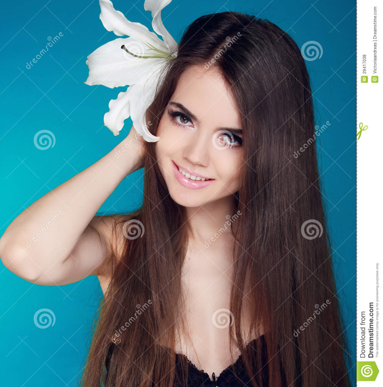 beautiful woman with long brown hair and white flower attractiv stock photo image 29417038. Black Bedroom Furniture Sets. Home Design Ideas