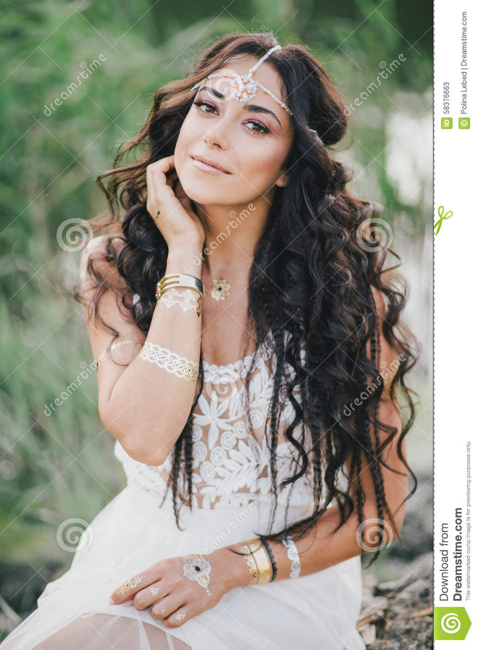 Beautiful Woman With Long Curly Hair Dressed In Boho Style