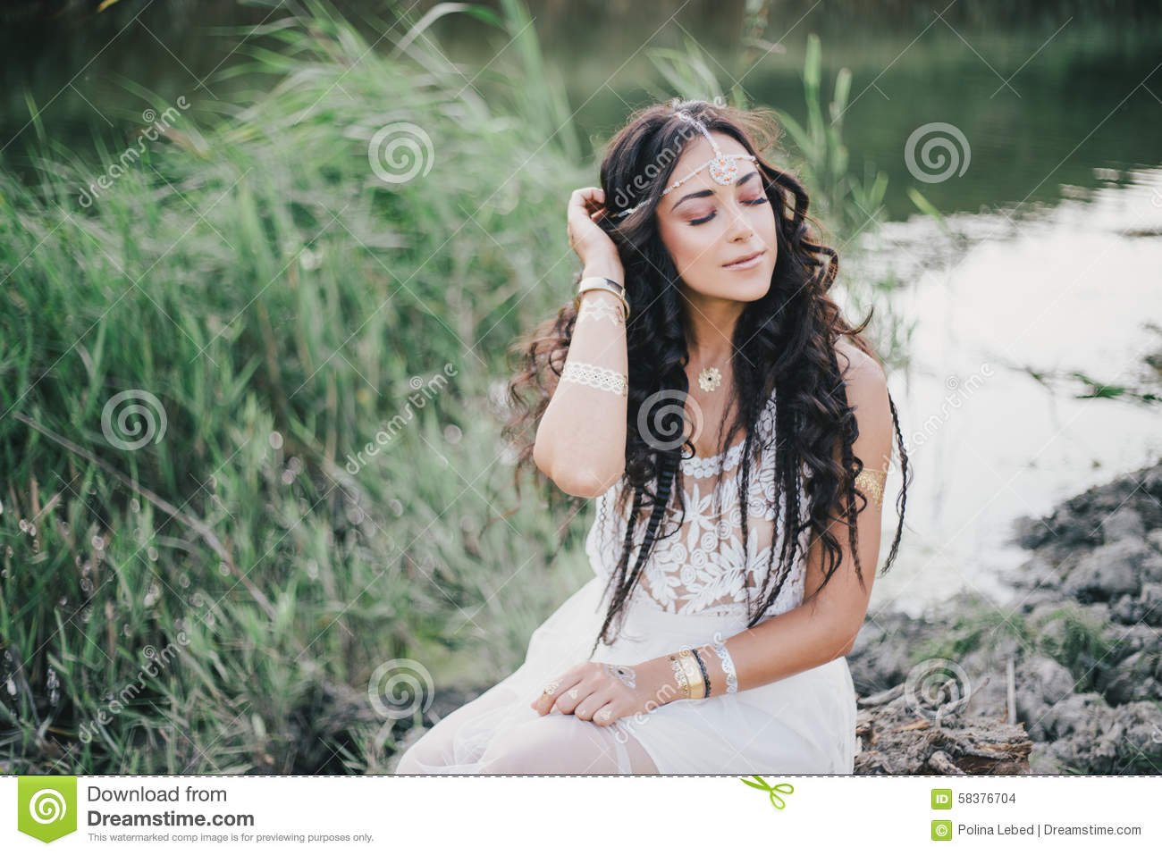 Bohemian Style Hair: Beautiful Woman With Long Curly Hair Dressed In Boho Style