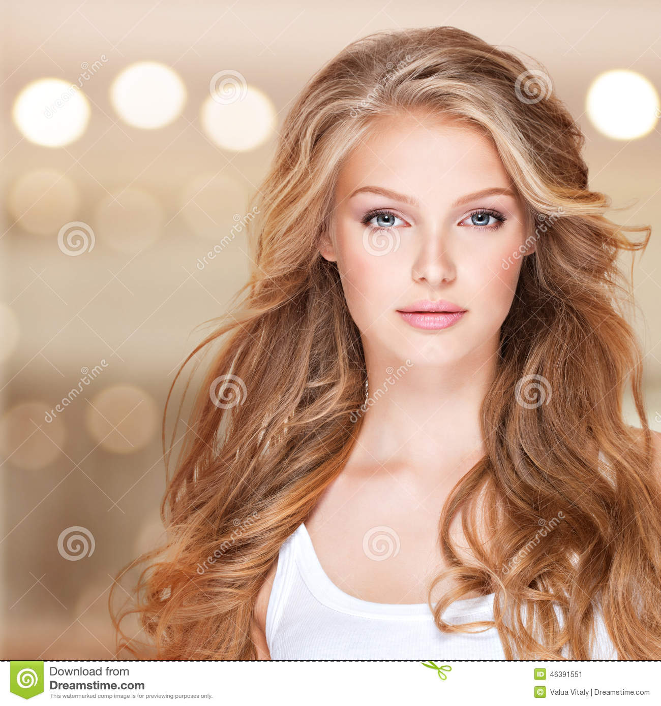Beautiful Woman With Long Curly Hair Stock Photo Image