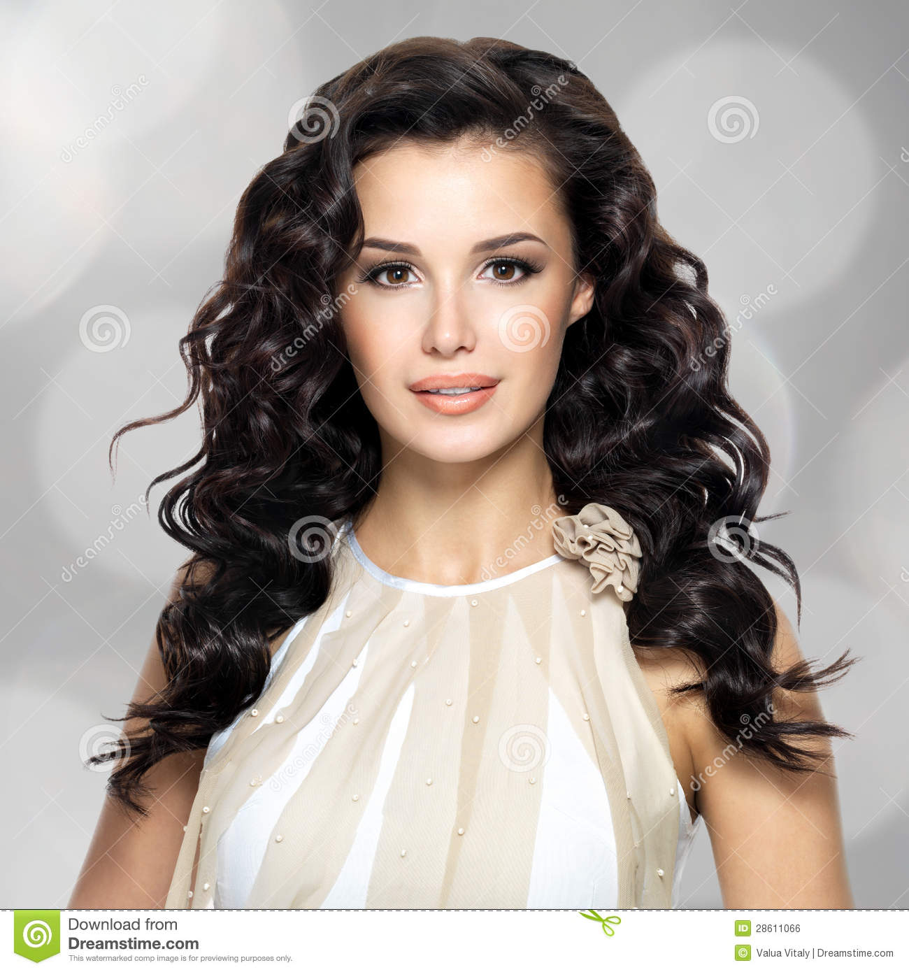 Beautiful Woman With Long Curly Hairstyle Royalty Free