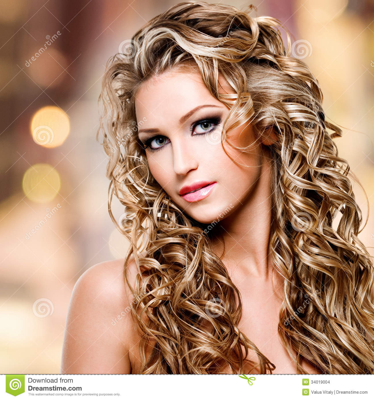 Sensational Beautiful Woman With Long Curly Hairstyle Stock Images Image Short Hairstyles Gunalazisus
