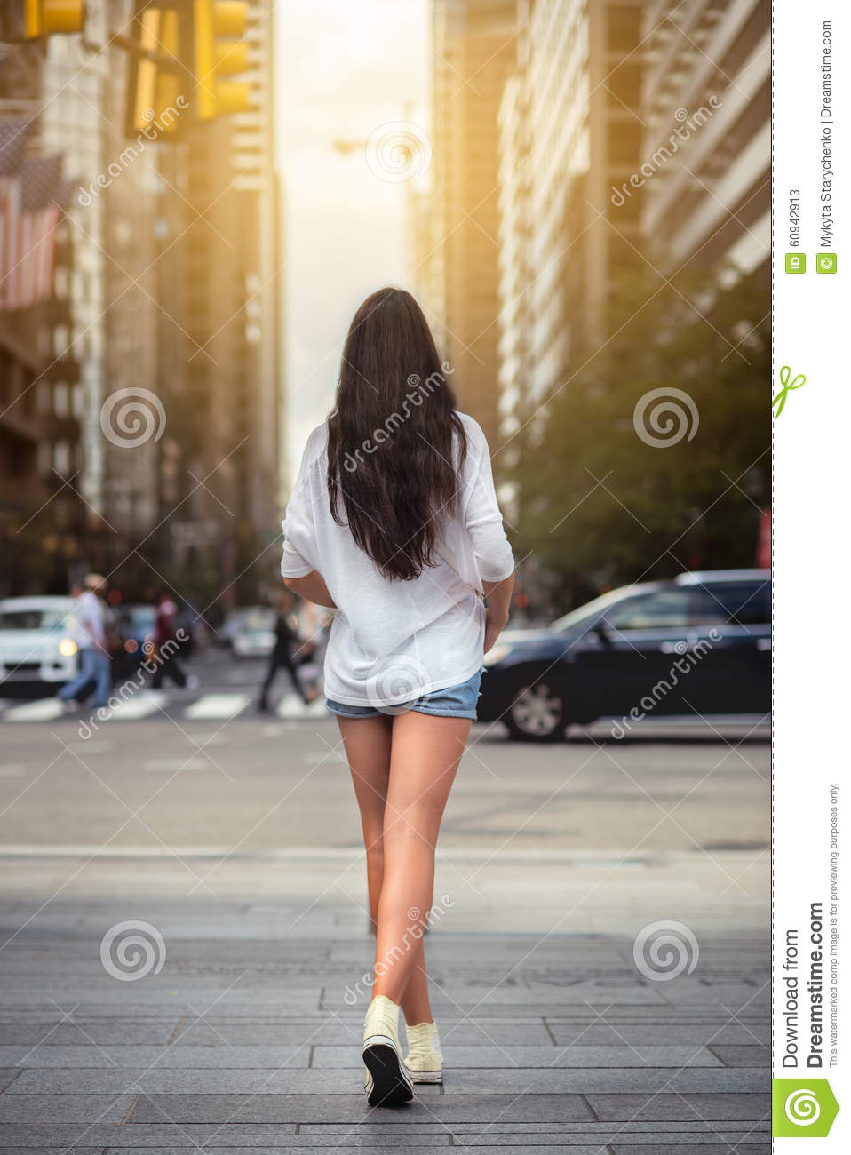Beautiful Woman With Long Legs Walking Around New York