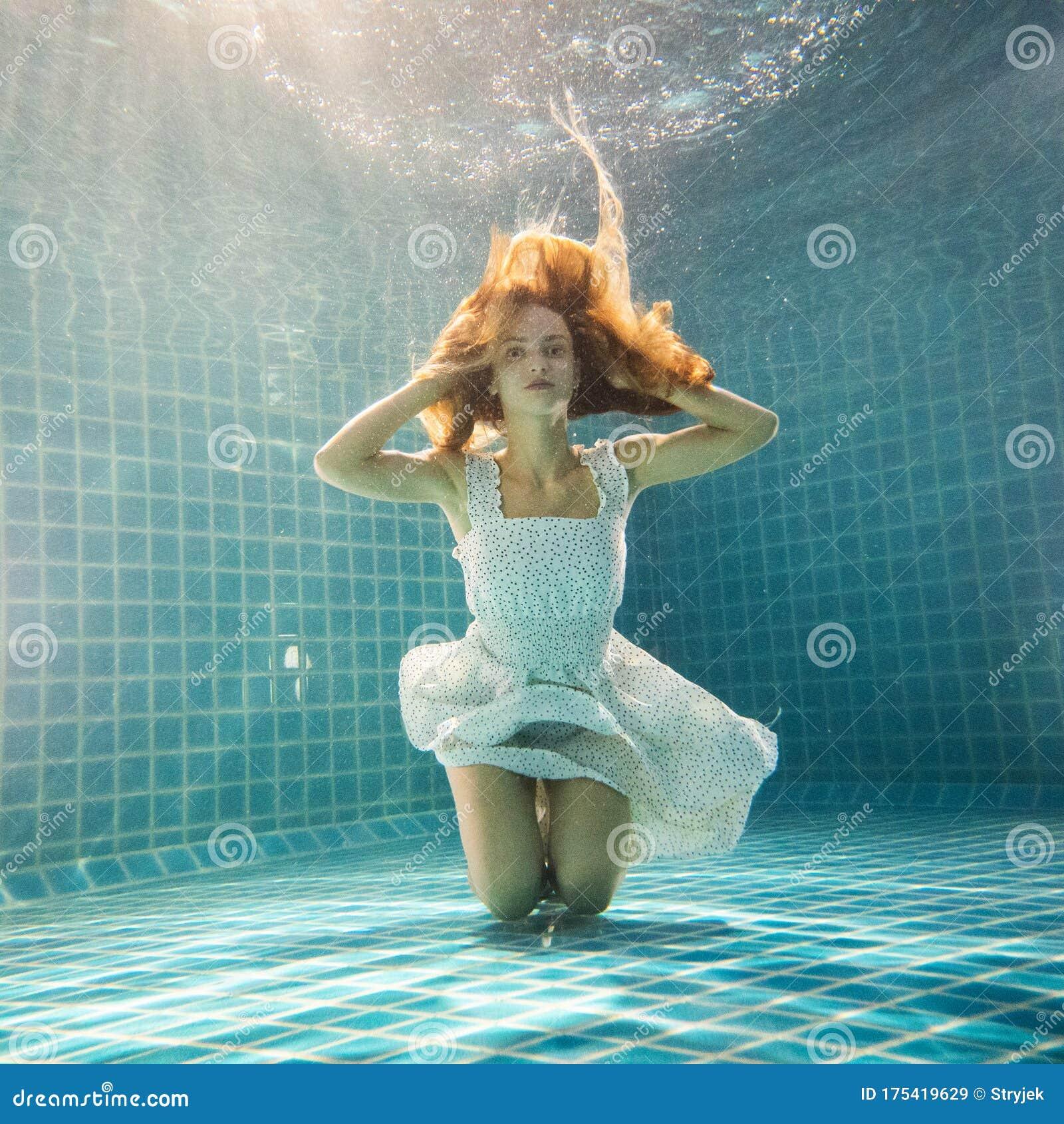 Beautiful Fantasy Mermaid Lake Lilies Stock Illustration