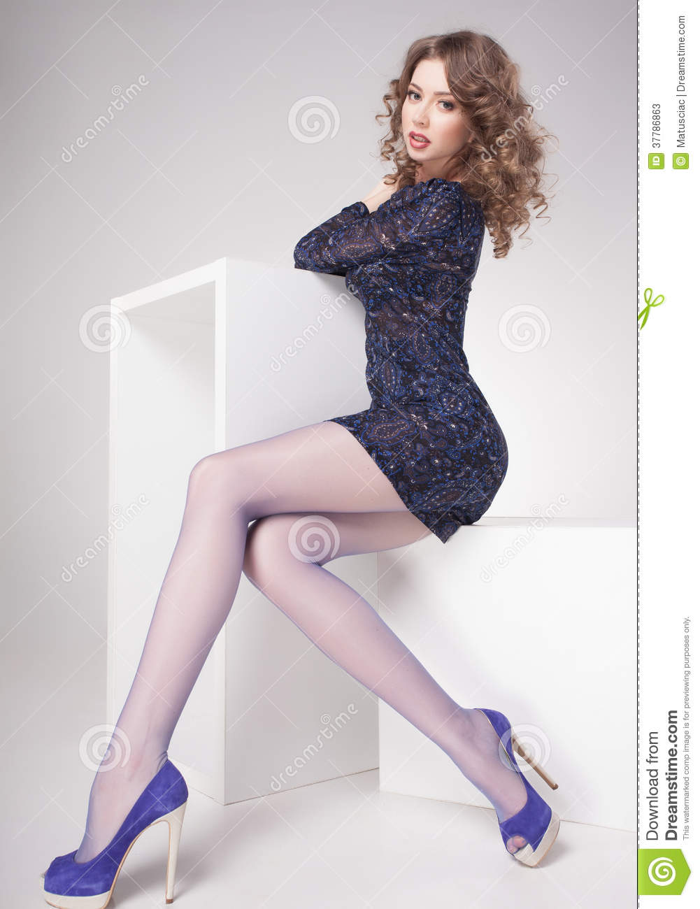 Beautiful Woman With Long Sexy Legs Dressed Elegant Posing ...