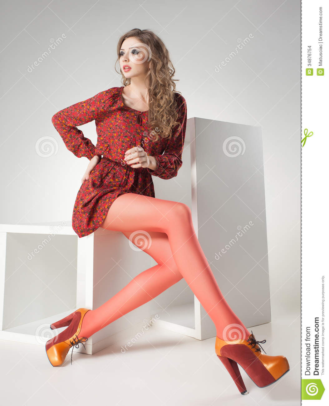 Classy And Glamorous Photo: Beautiful Woman With Long Legs Dressed Elegant Posing In