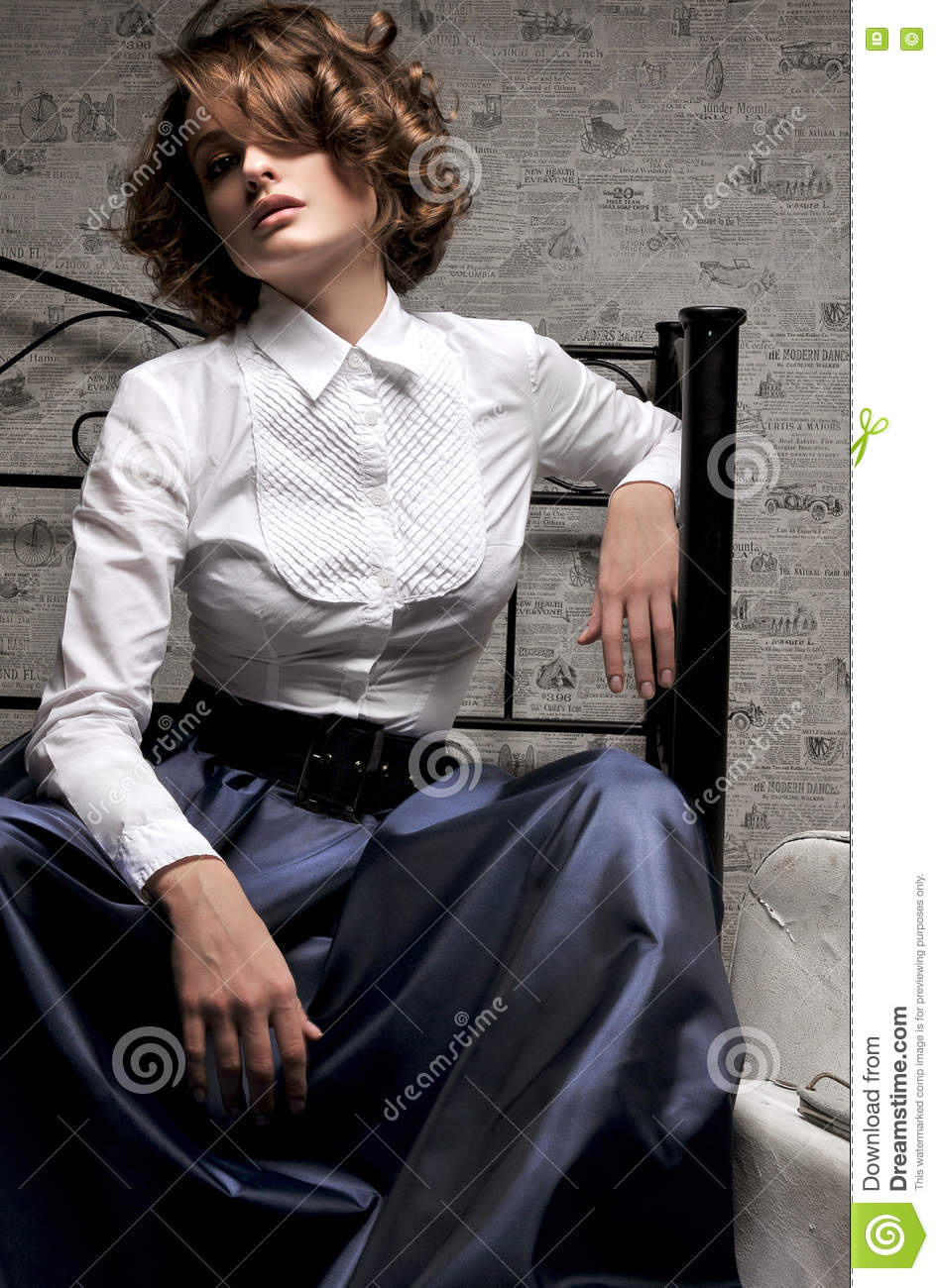 Beautiful Woman In Long Skirt And White Blouse Stock Photo Image