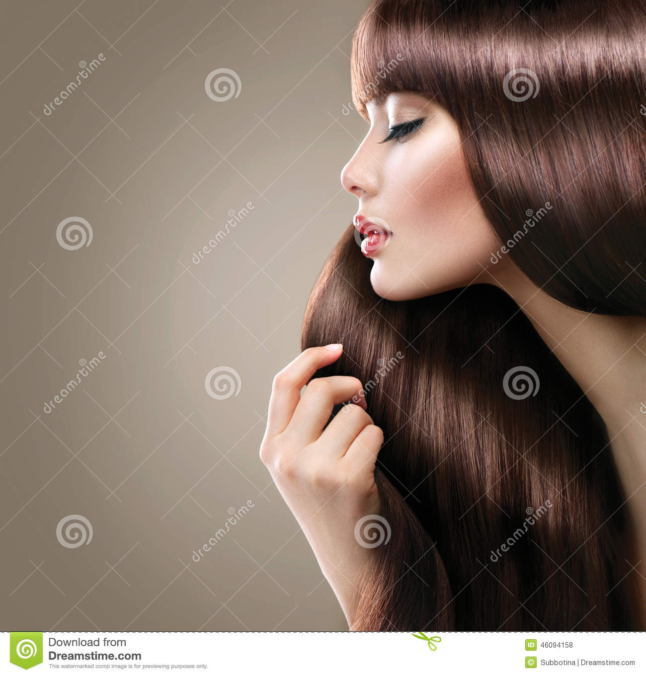 Beautiful woman with long smooth shiny straight hair