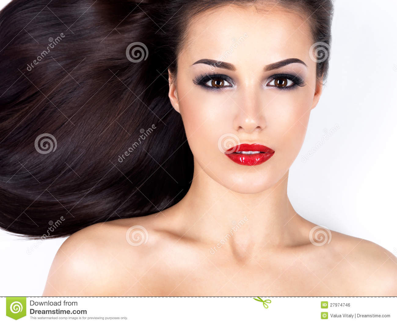Beautiful woman with long straight brown hair