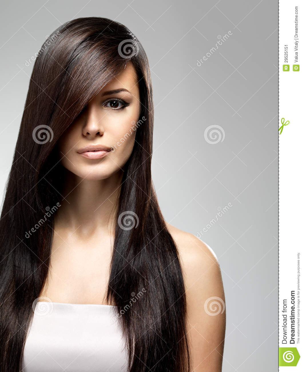 Beautiful Woman With Long Straight Hair Stock Image - Image: 29525151