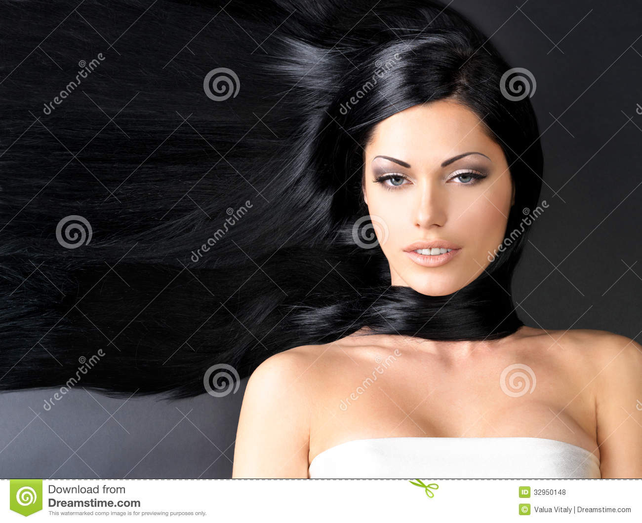 Beautiful woman with long straight hair stock photo for Wonderful black