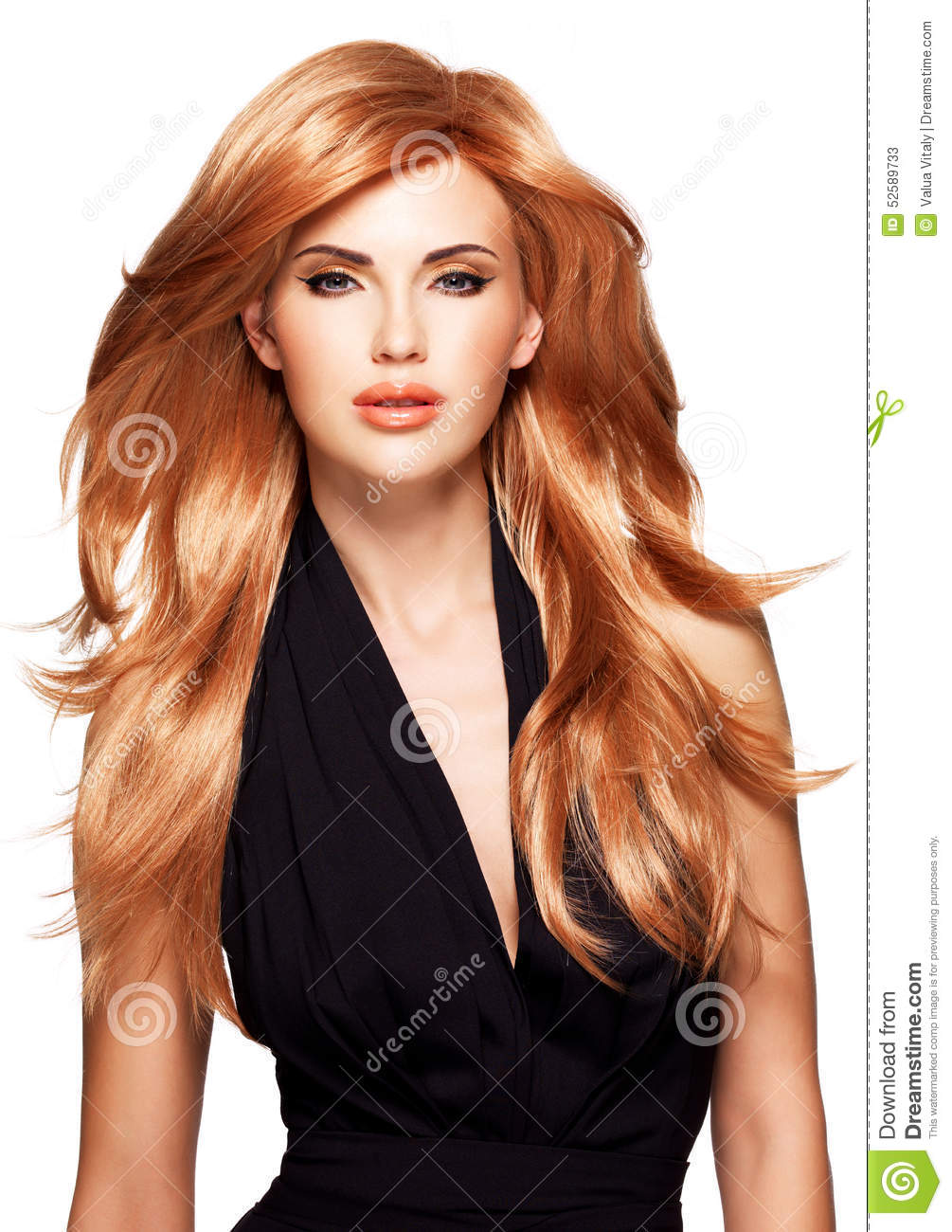 Black dress hairstyle - Beautiful Woman With Long Straight Red Hair In A Black Dress