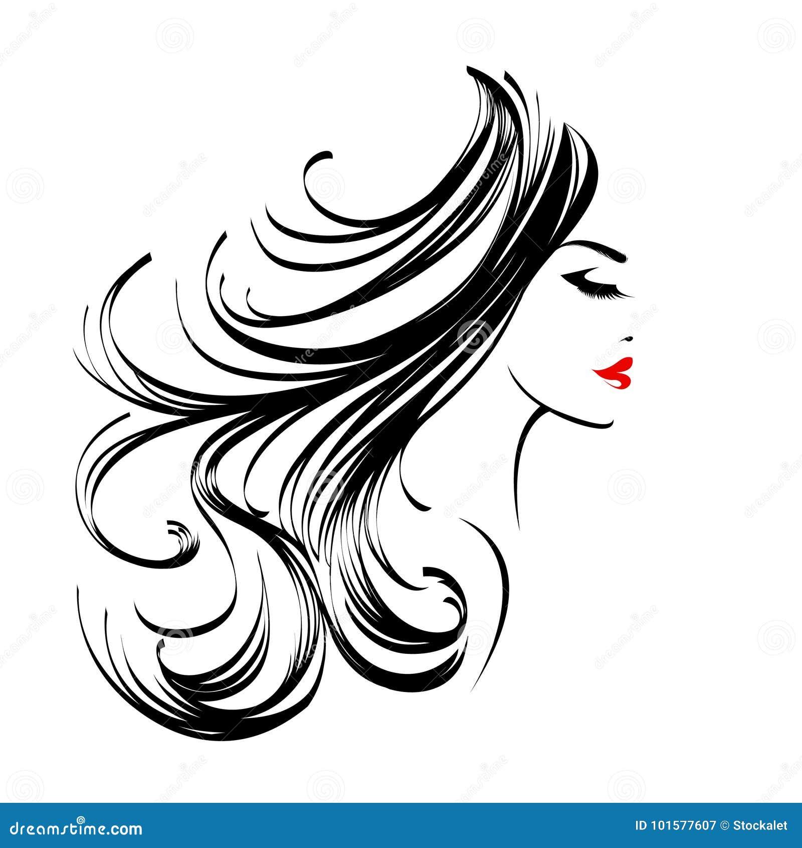 Beautiful woman with long, wavy hair and nice makeup