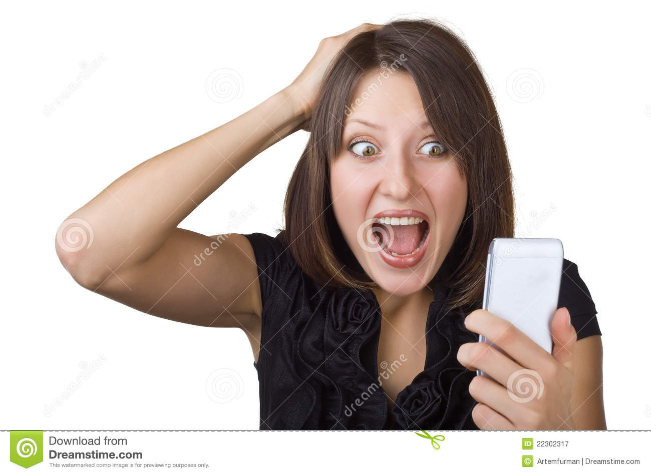 Beautiful Woman Looking At Cell Phone Stock Image - Image