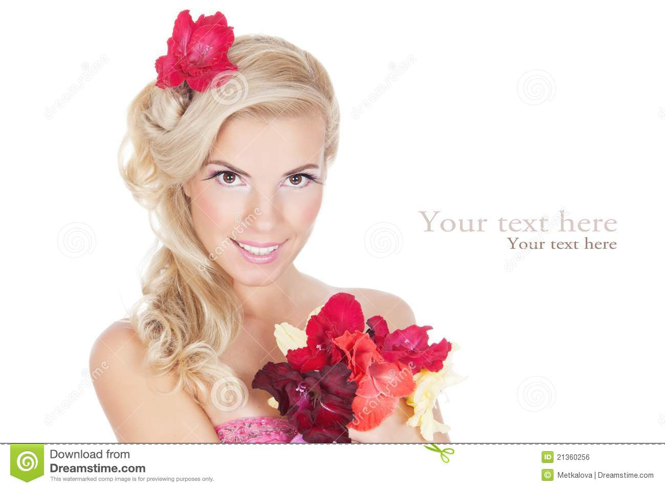 Beautiful Woman Looking At The Flowers Royalty Free Stock Image Image 2136