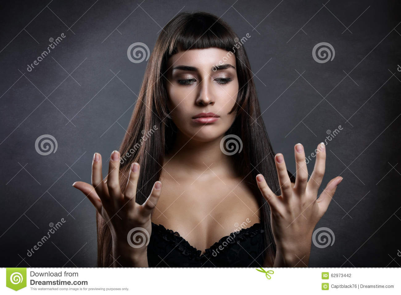 beautiful woman looking at her hands stock photo image funny eye clip art Silly Eyes Clip Art