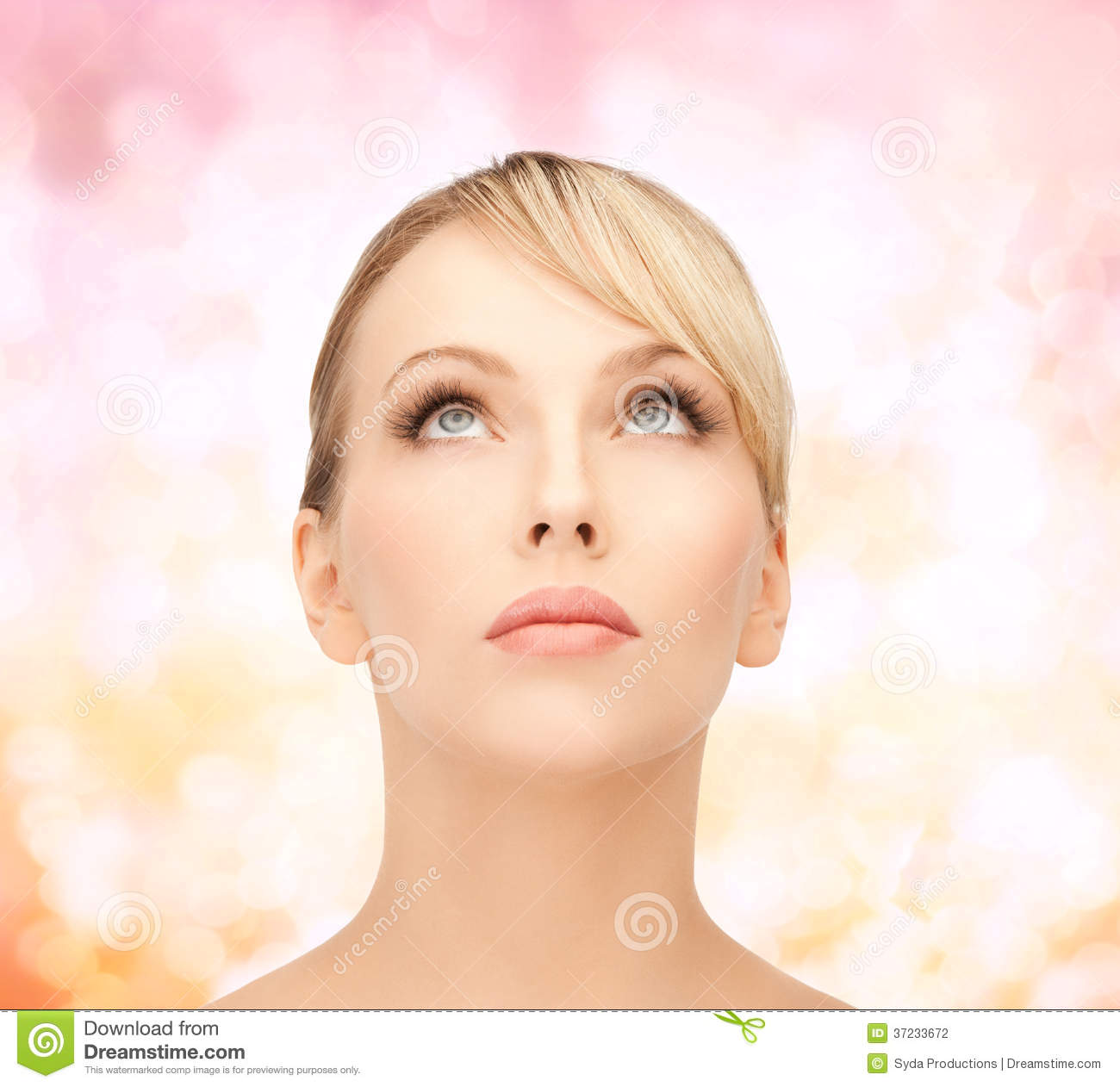 Beautiful Woman Looking Up Stock Photography Image 37233672