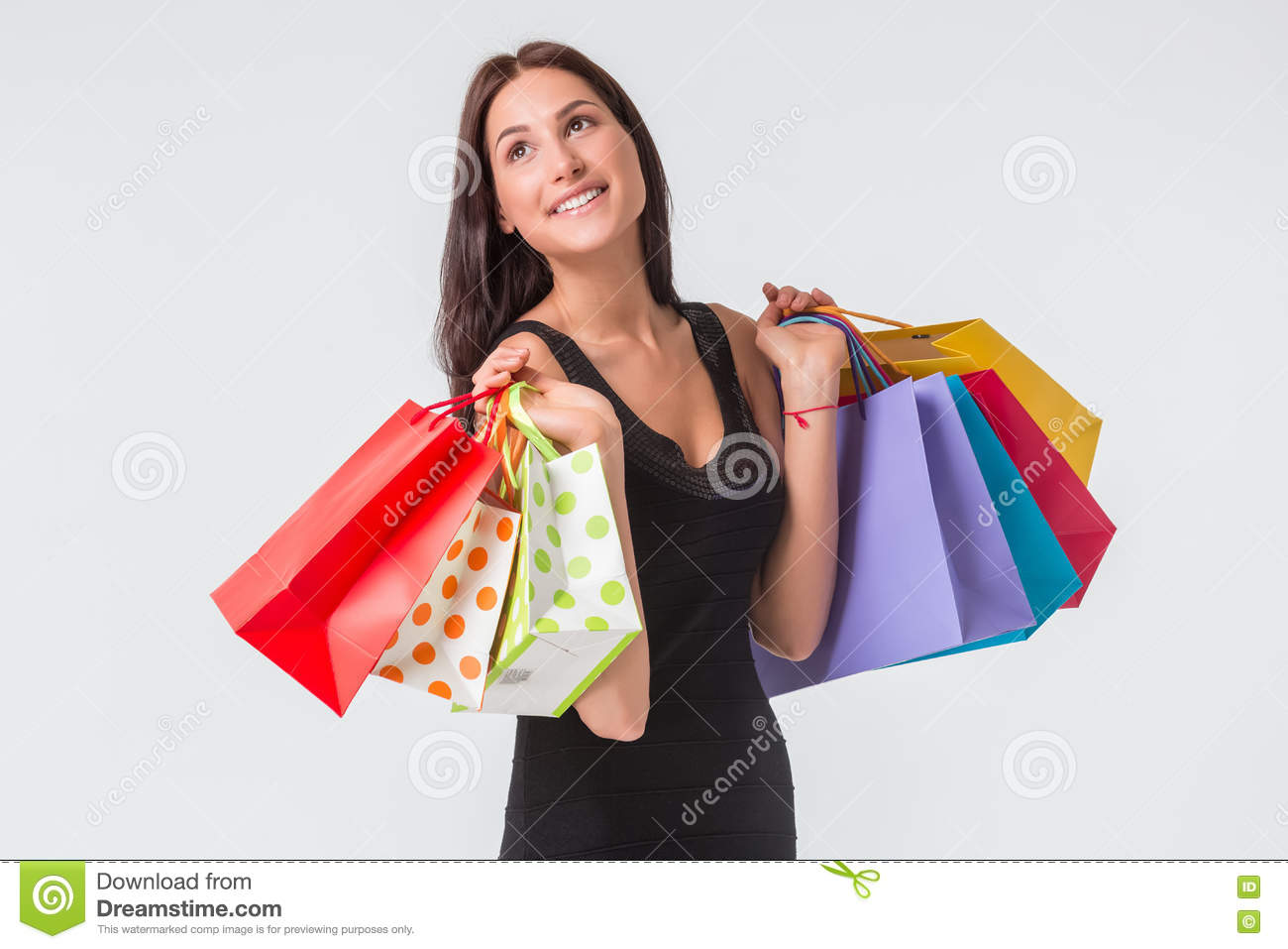 Beautiful Woman With A Lot Of Shopping Bags Stock Photo - Image ...