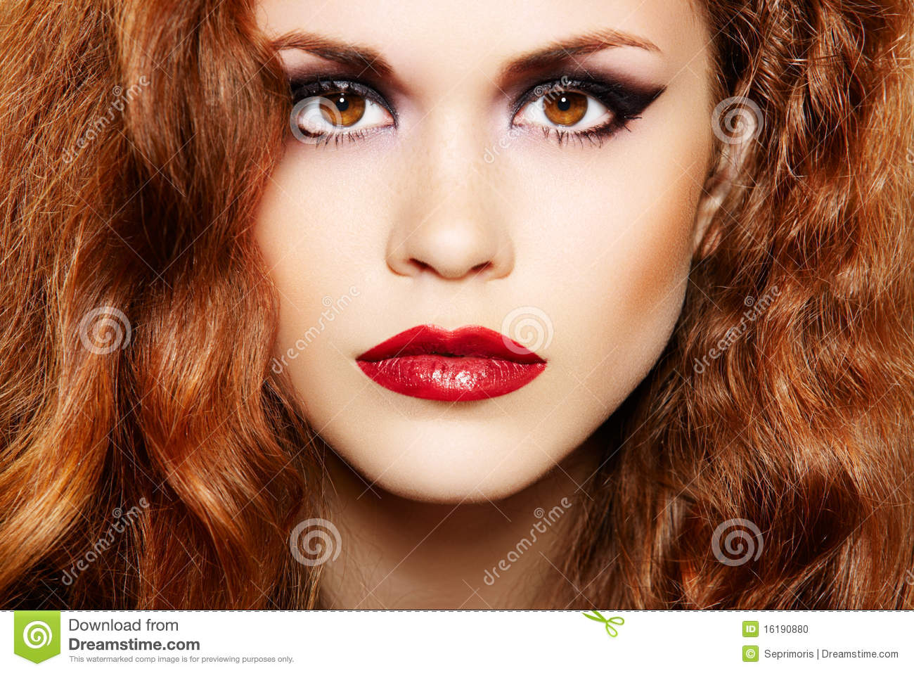 Beautiful woman with luxury make up and curly hair stock for Luxury women