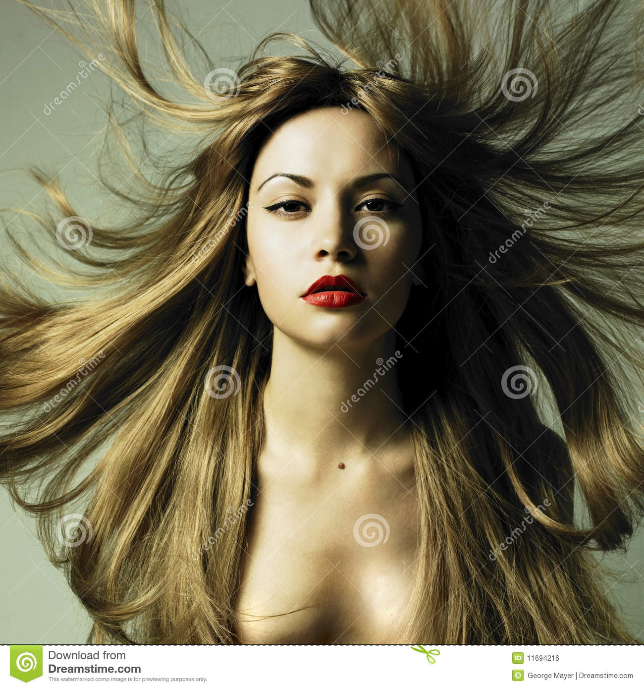 Beautiful woman with magnificent hair