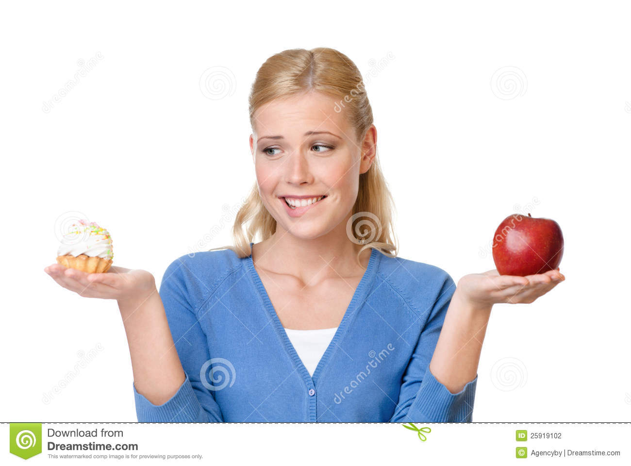 Download Beautiful Woman Makes A Choice Stock Photo - Image of food, cake: 25919102