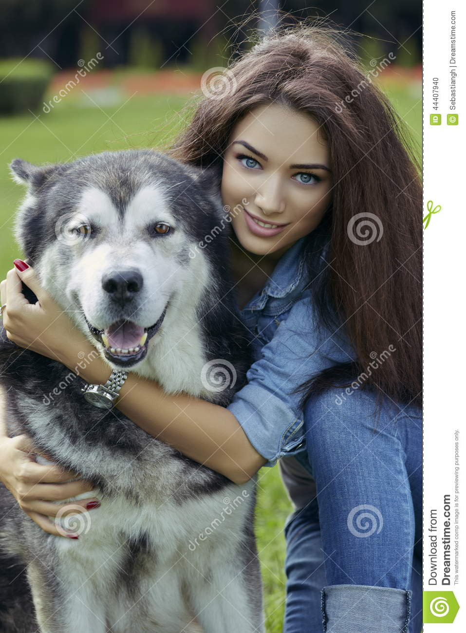 Beautiful Woman With Malamute Dog Stock Photo - Image ...