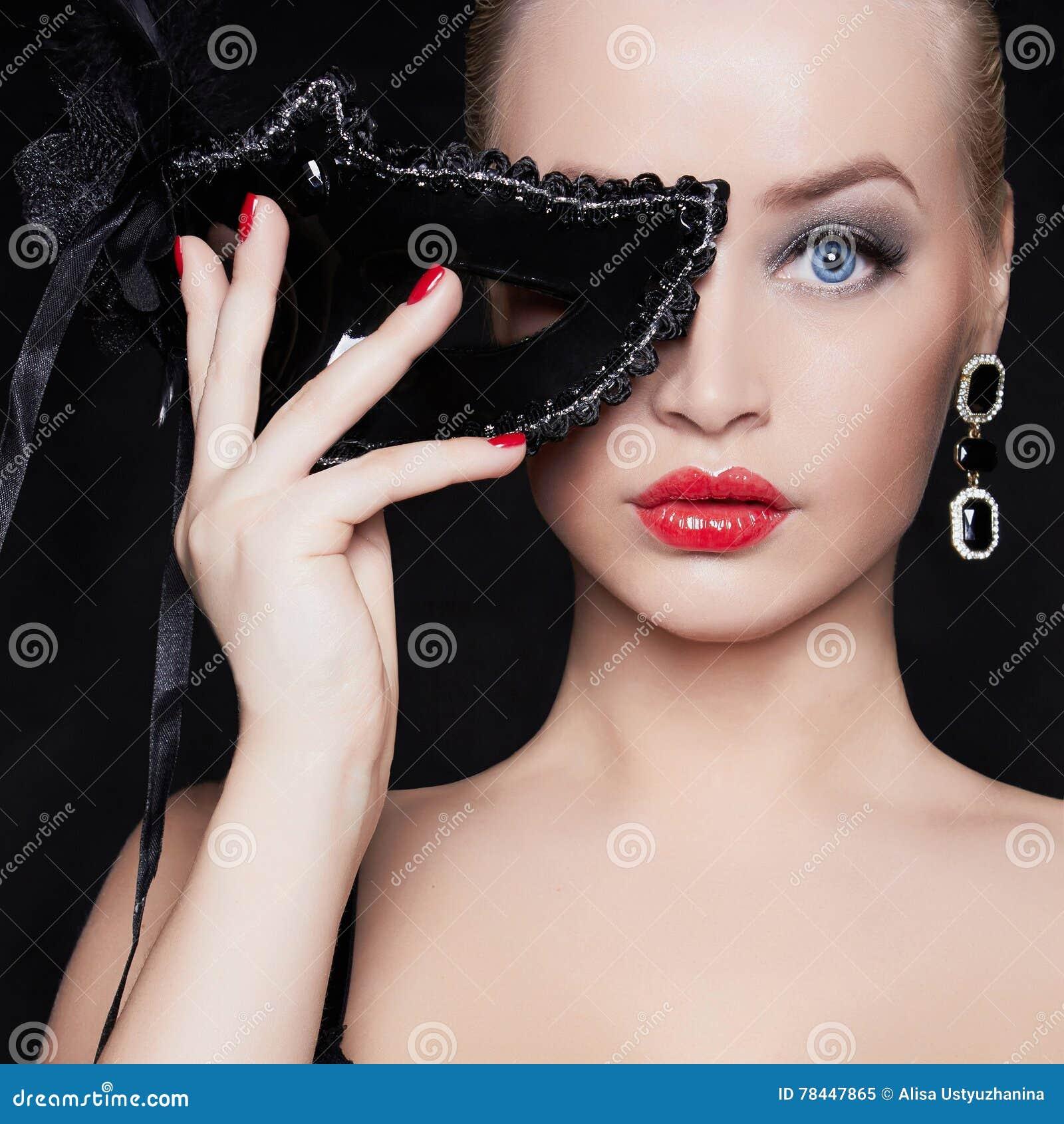 Beautiful Woman In Mask.halloween Stock Photo - Image: 78447865