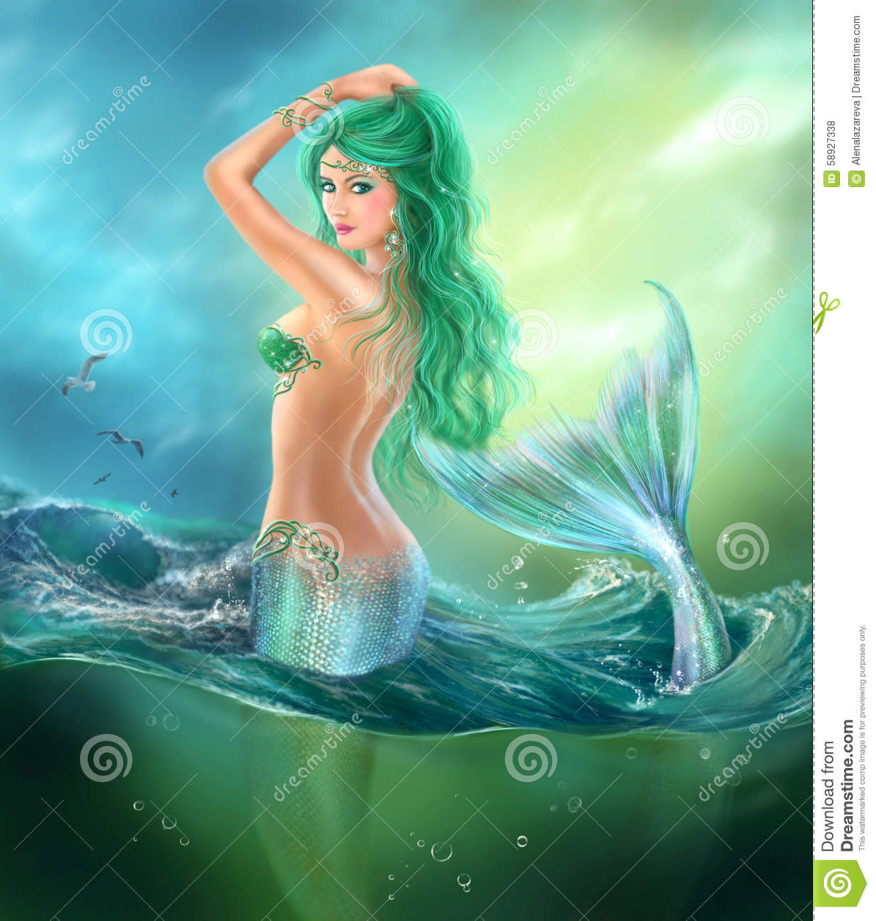 Beautiful Woman Mermaid Fantasy At Ocean With Green Hair Lilies