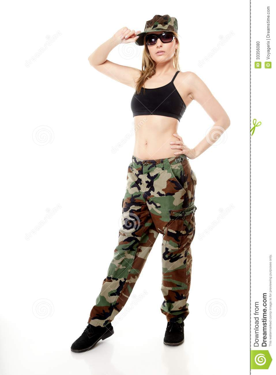 Full length beautiful woman in military clothes on white background