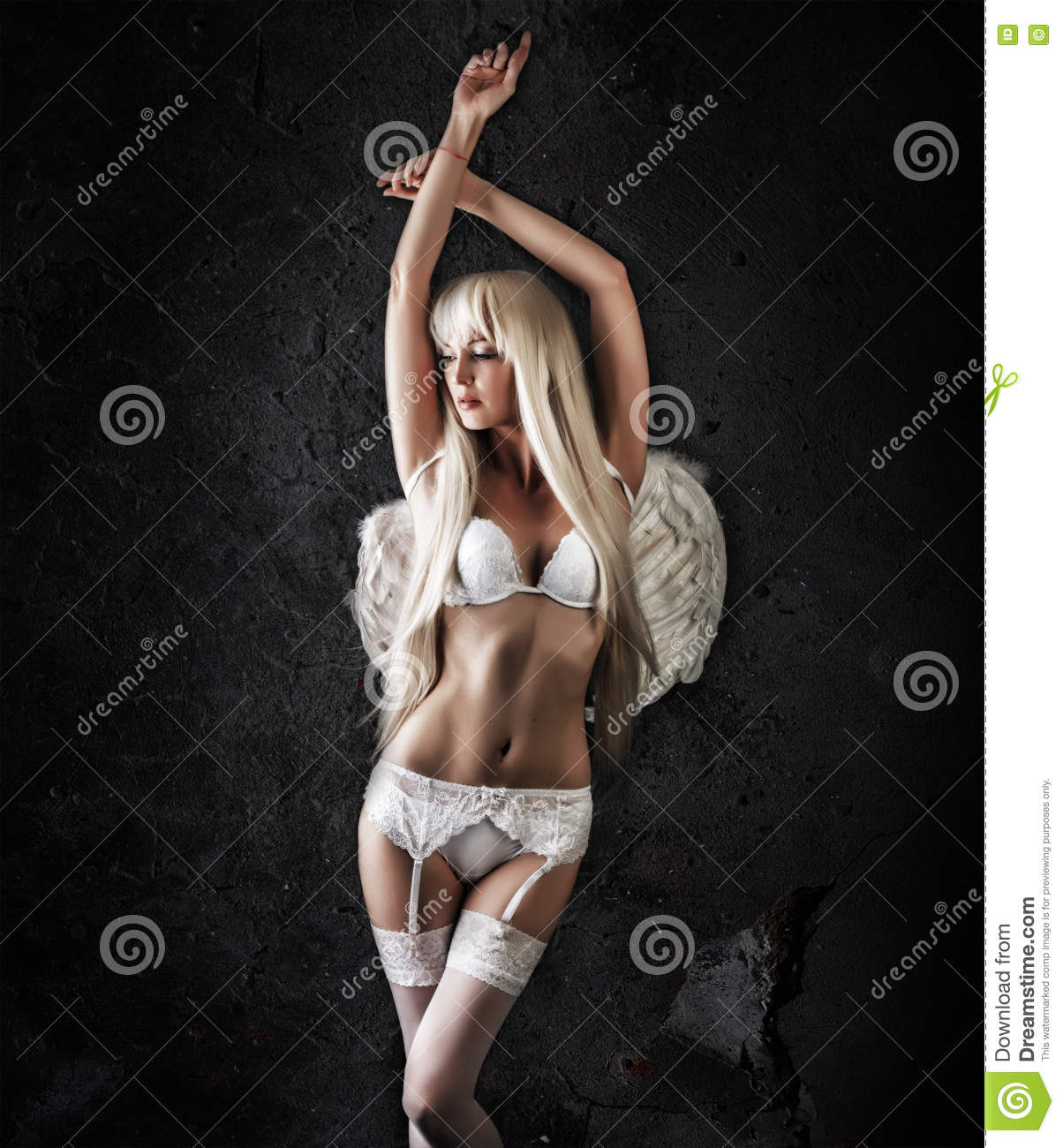 8d6d8520608 Beautiful Woman Model Angel Wearing White Lace Lingerie Stock Photo ...