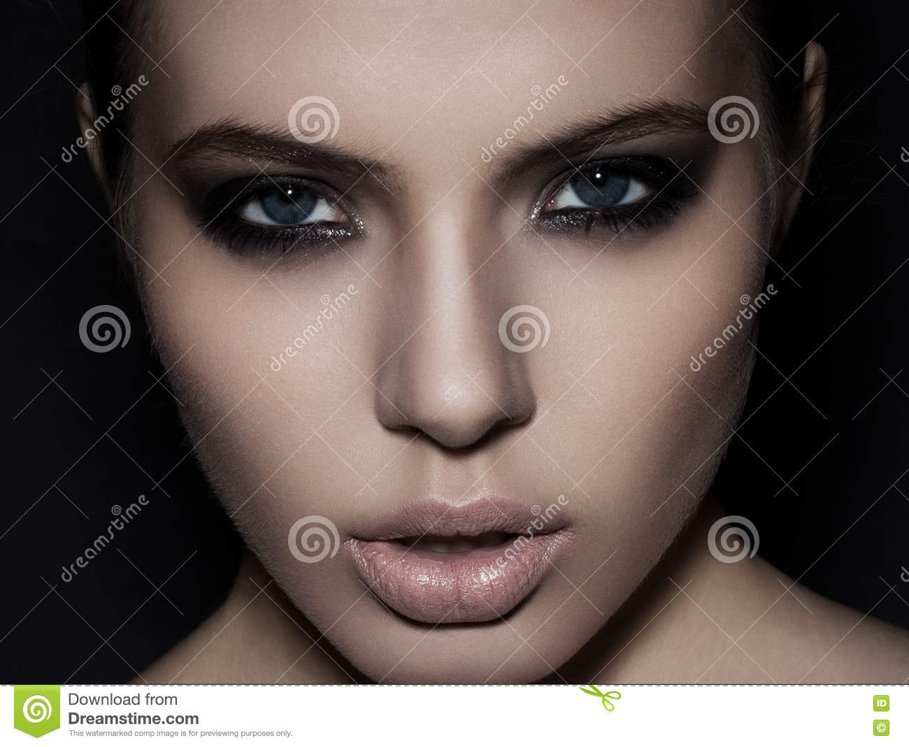 Beautiful Woman Model Smokey Eyes Makeup Closeup On Black Stock Photo Image Of Female Attractive 77828660