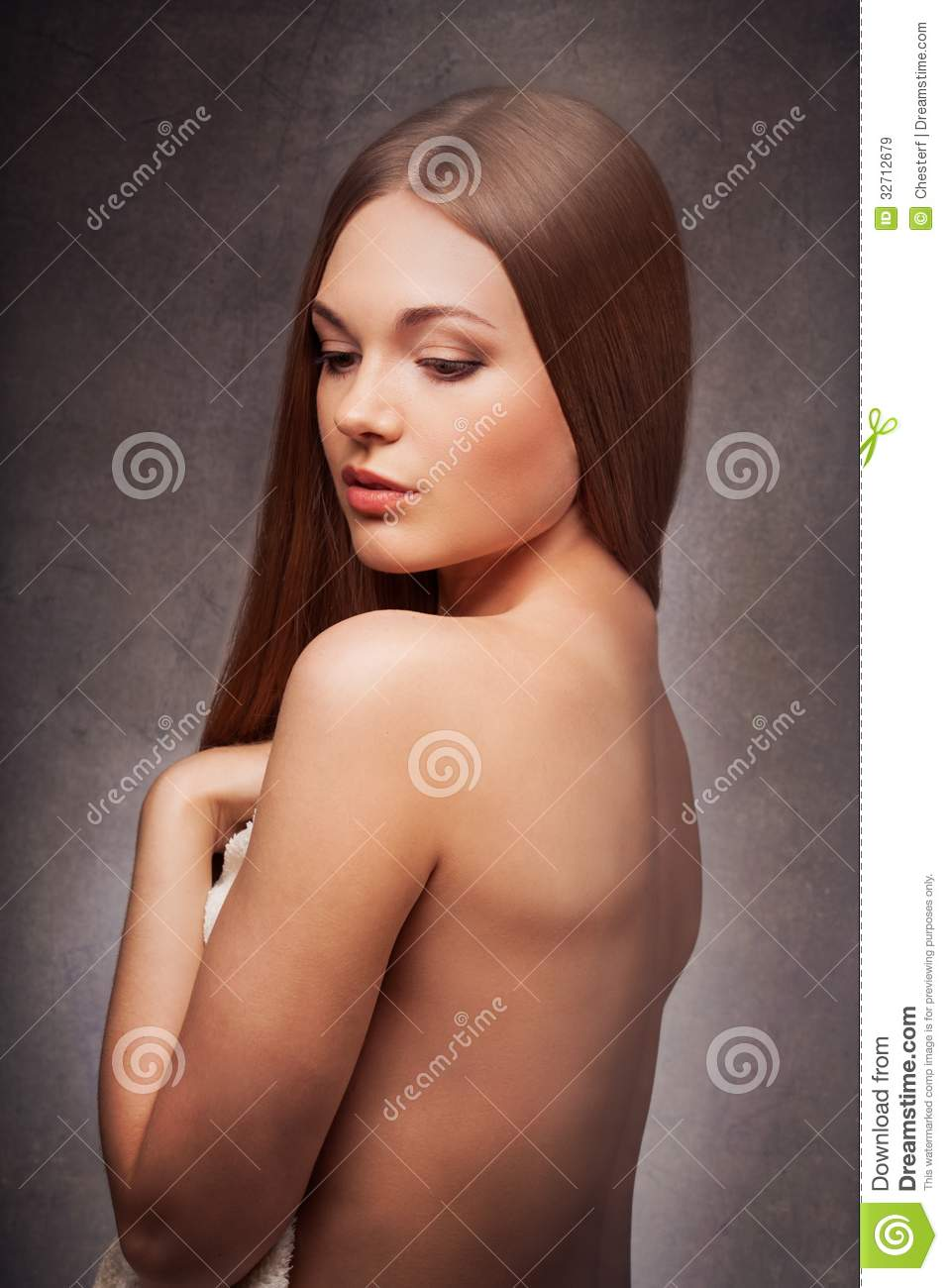 Beautiful Woman In The Fog With Naked Back Portrait Over Dark