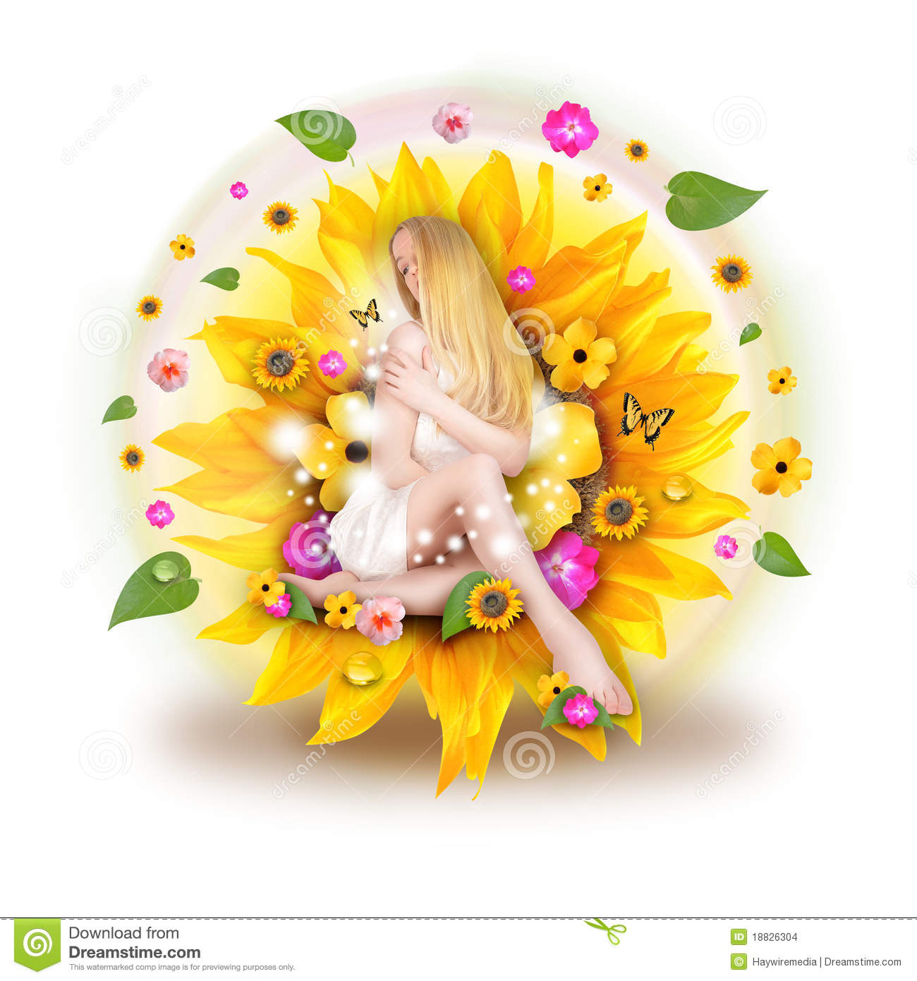 Beautiful Woman In Nature Flowers Stock Photo Image Of Happy Body