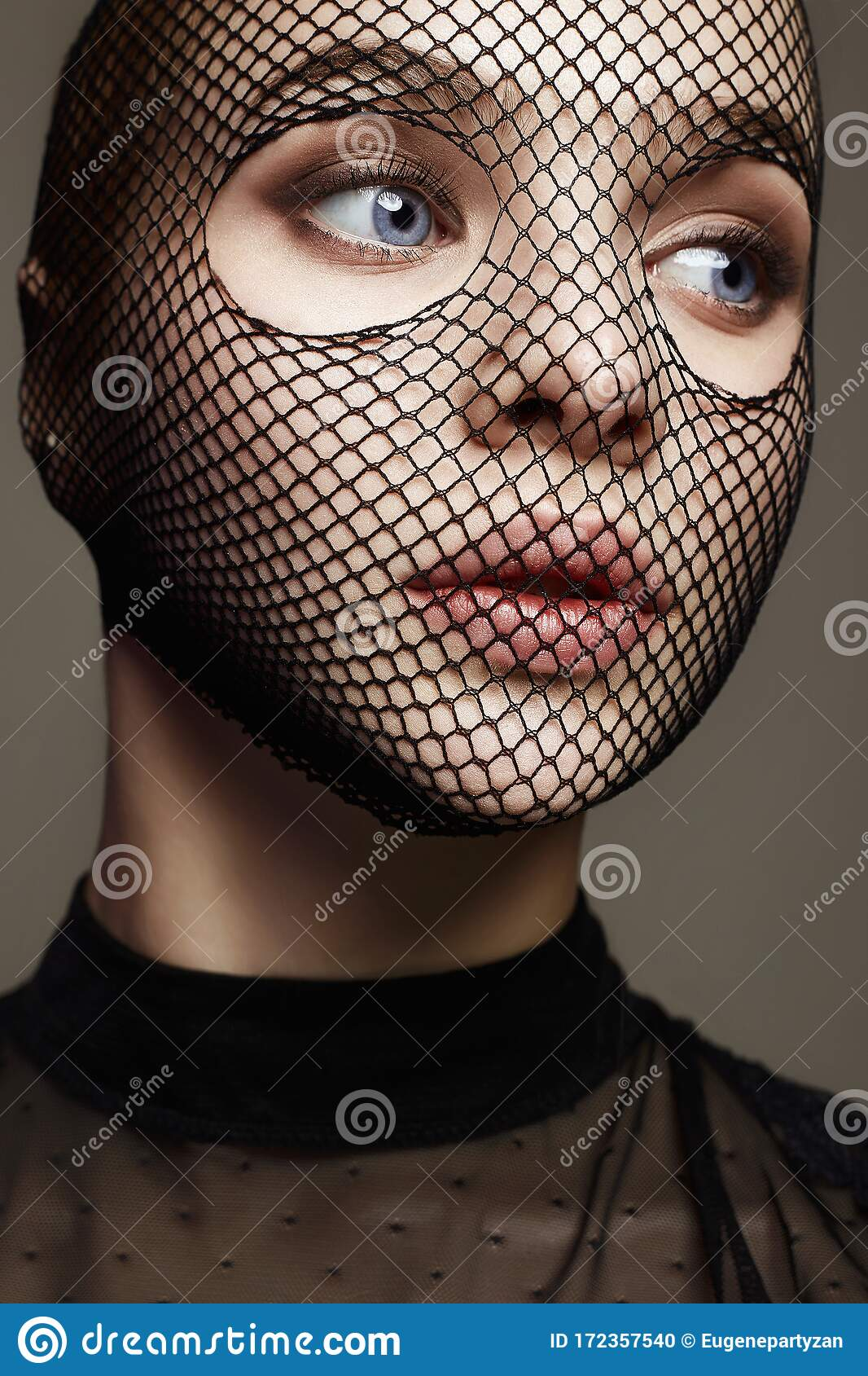 Beautiful Woman In Net On Her Face. Girl In Mask Stock Photo - Image of  passion, lovely: 172357540