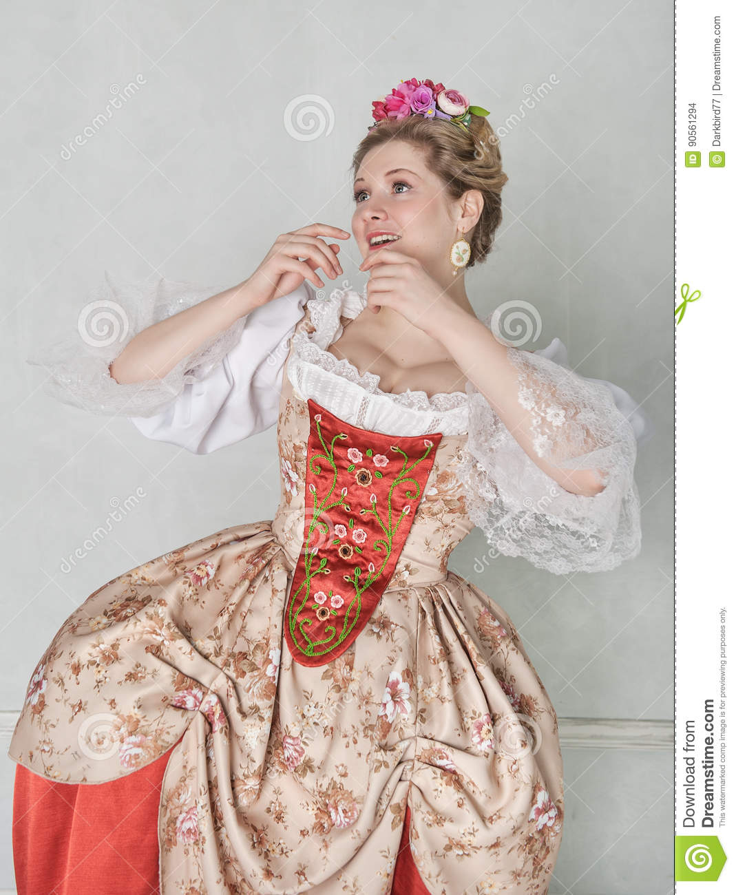 e382d7597d Beautiful Woman In Old-fashioned Historic Medieval Dress Stock Photo ...
