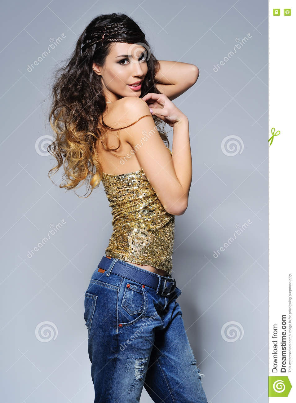 Beautiful Woman Party Portrait In Sparkling Top Stock Image Image