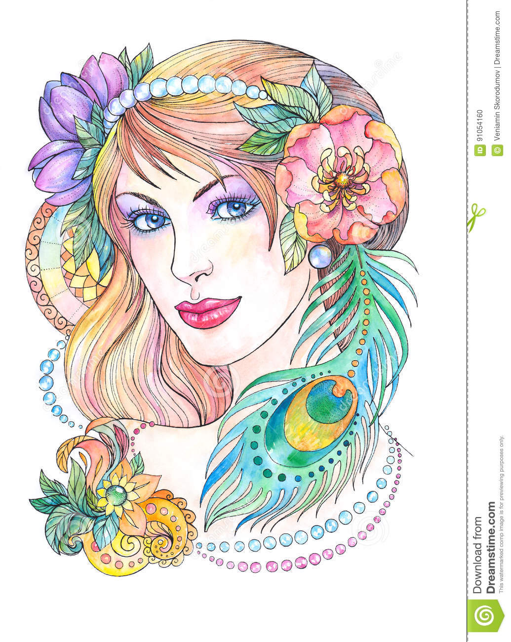 A Beautiful Woman With A Peony Flower In Her Hair Stock