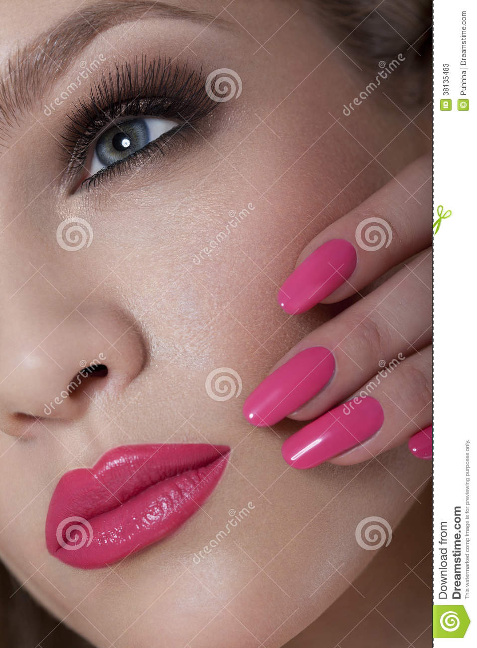 Beautiful Woman With Pink Nails And Luxury Makeup. Red Lips And Long ...