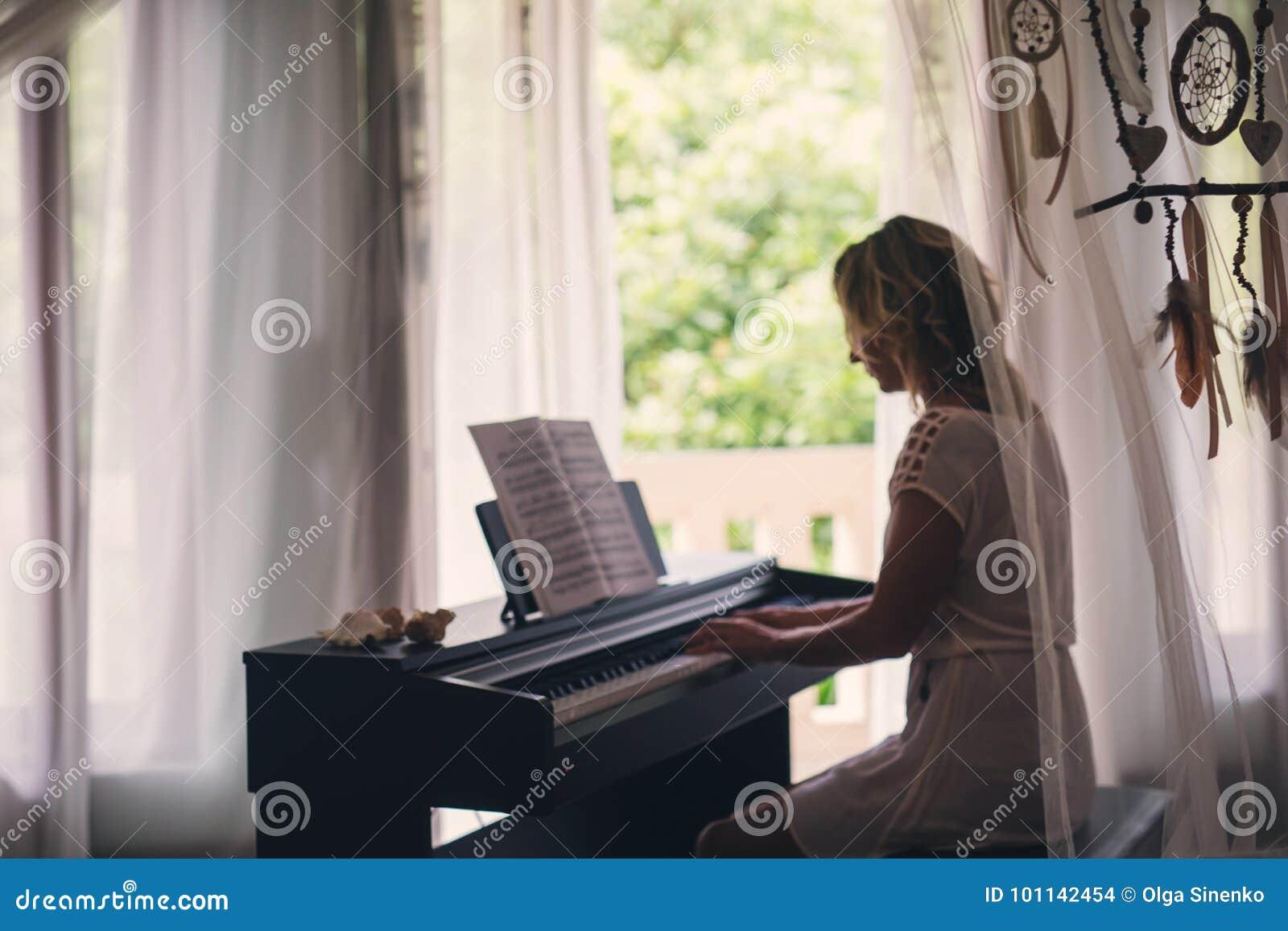 Beautiful Woman Playing Piano Stock Photo - Image of human